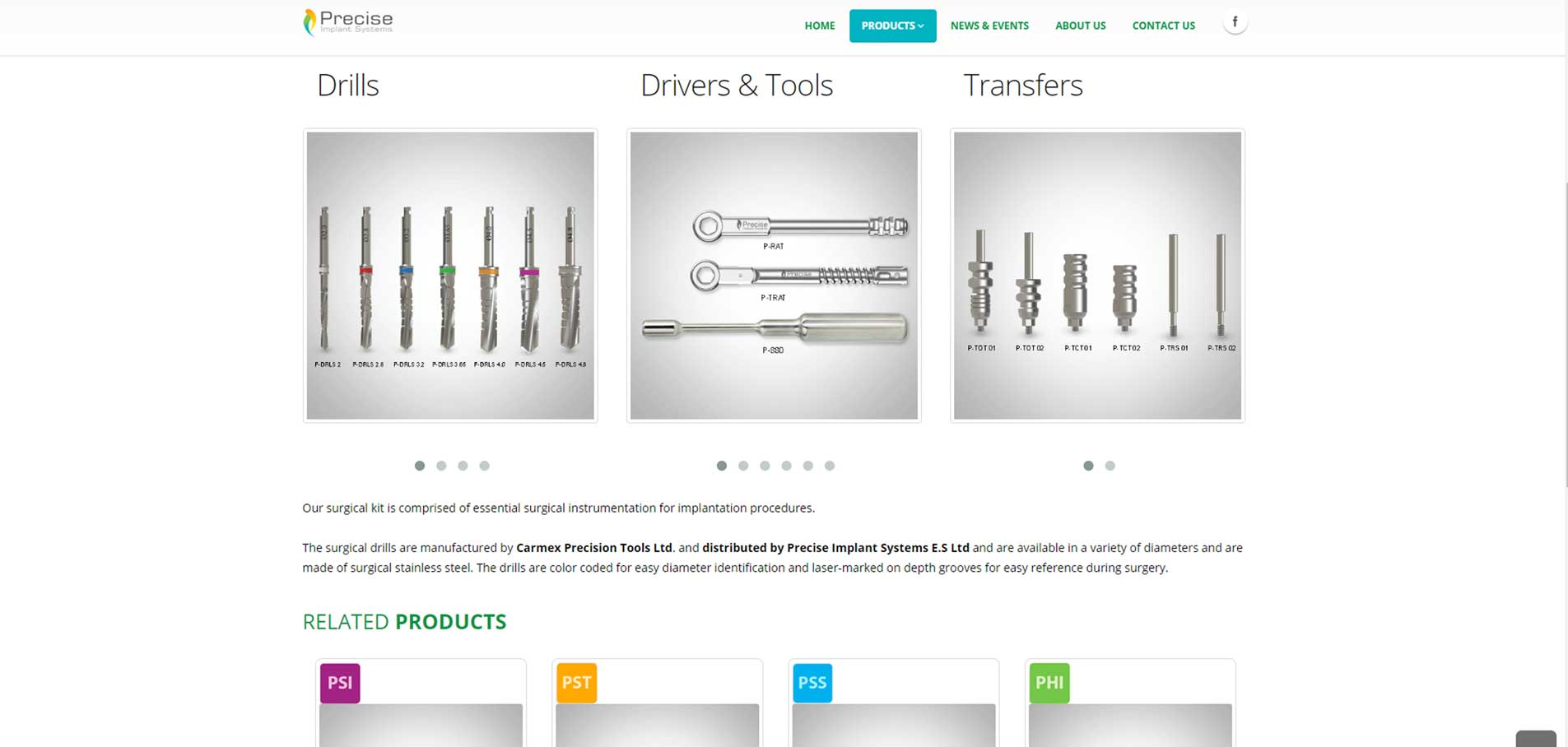 PRECISE products webpage