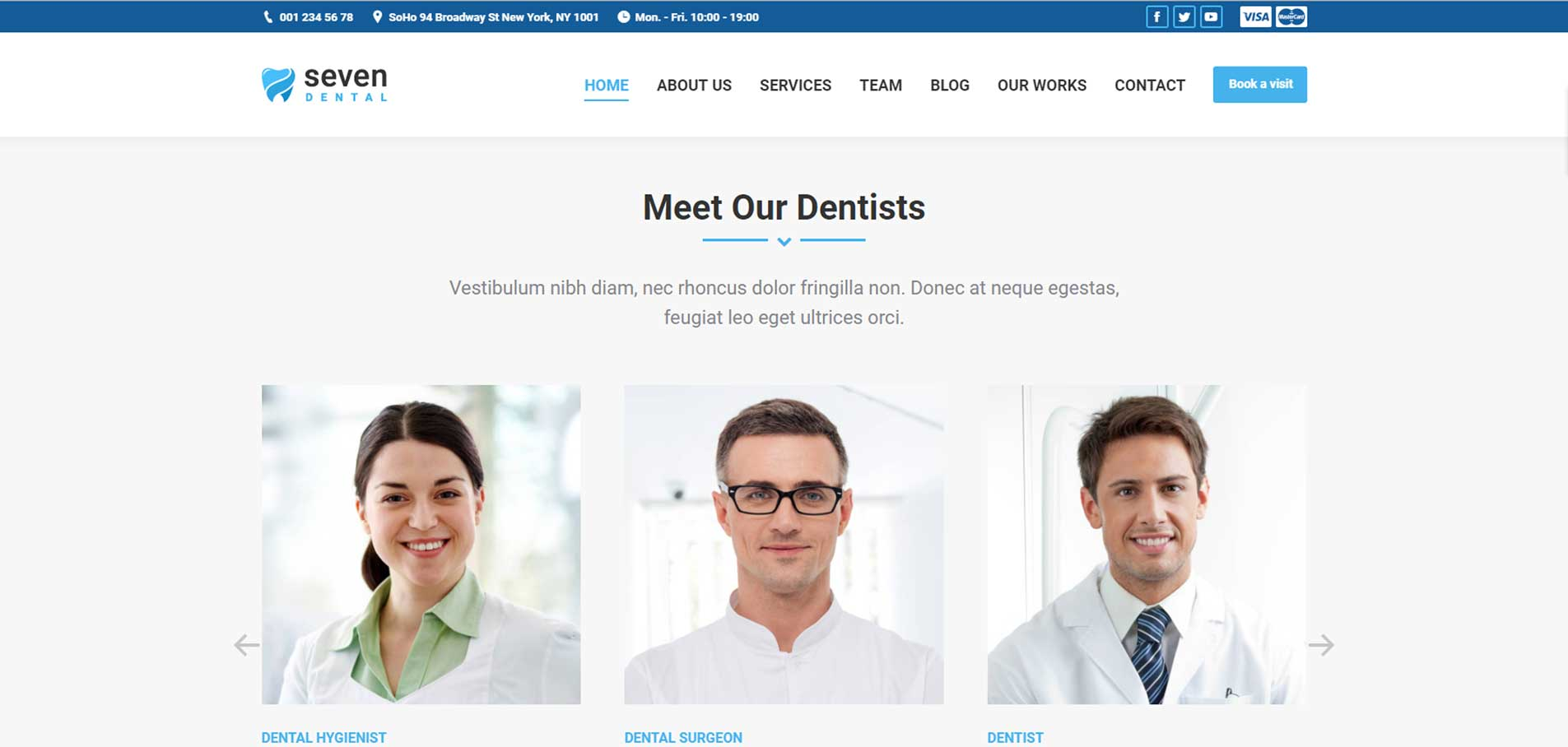 Customized dental website - team page