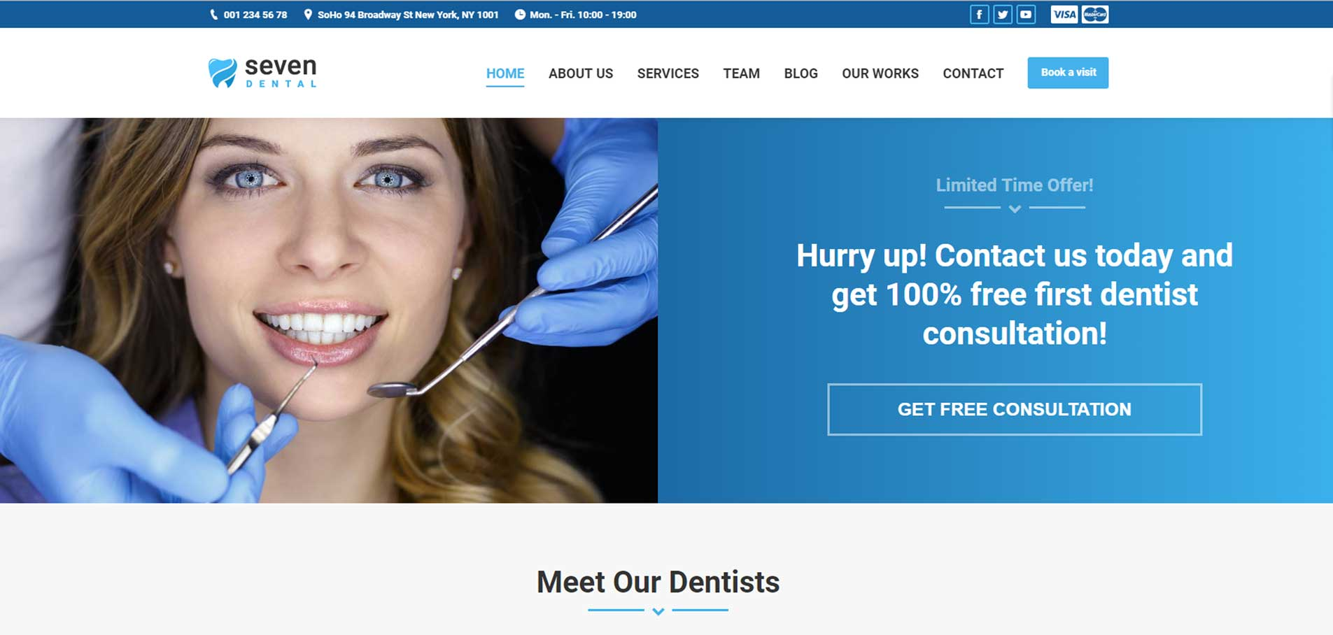 Customized dental web site home page