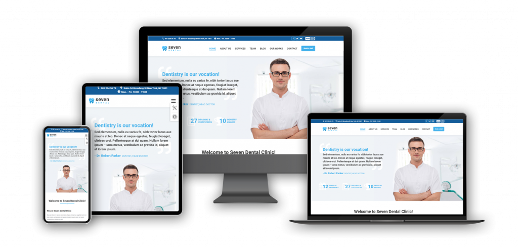 dental website template on different screens