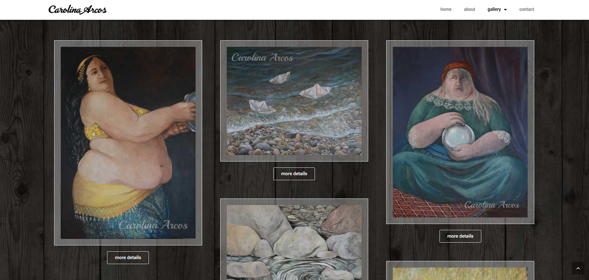 Carolina Arcos gallery page in website