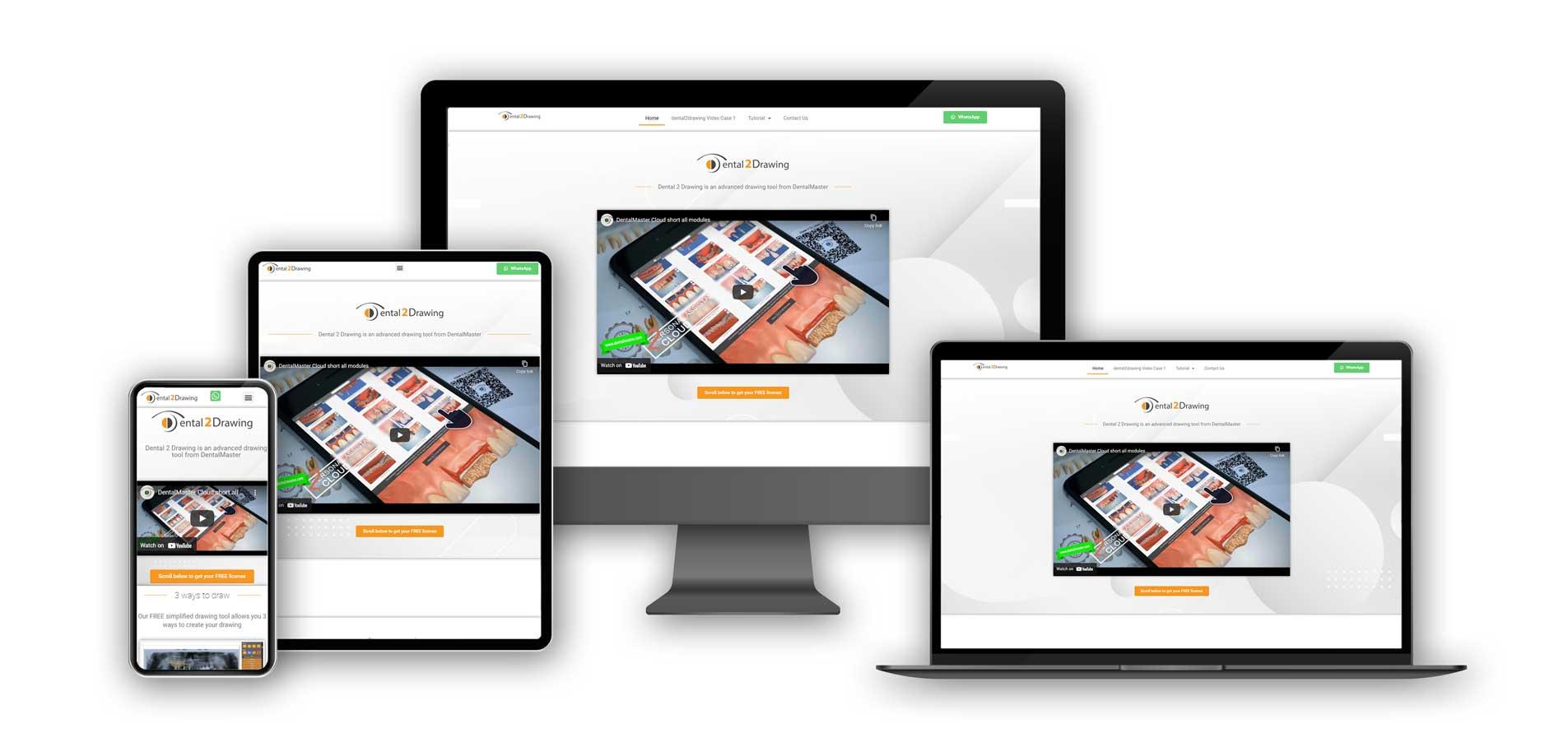 Dental2Drawing website on various screens