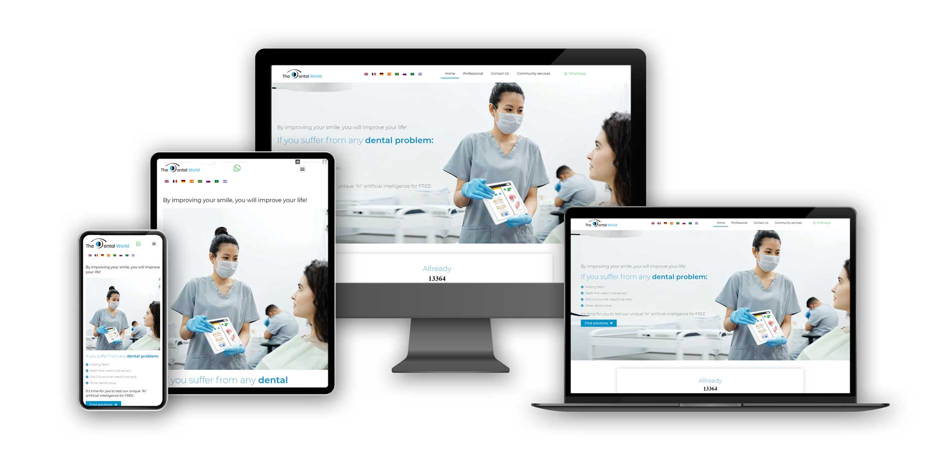 TheDentalWorld website on various screens